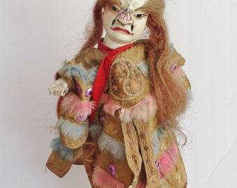 Peking Opera, antique carved wood puppet