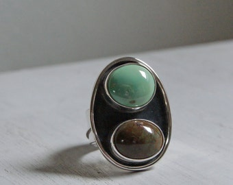 On SALE, Turquoise Duo Statement Ring, an American Turquoise and Silver Cocktail ring, size 7.75