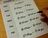 Weekly Hours Sign - DIY Printable, Blank Store Door Schedule Template - generic or with date