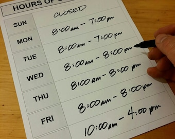 Weekly Hours Sign - DIY Printable, Blank Store Door Schedule Template - generic or with date