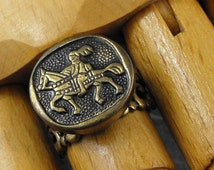 Knight on Horse Brass Filigree Ring - Knight in Shining Armor by COGnitive Creations
