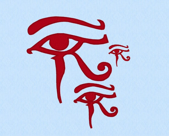 Eye horus machine embroidery design file in three sizes