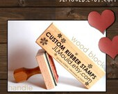 1x4 or 4x1 Custom Personalized Modern Red Rubber Stamp mounted WoodBlock or Handle JLMould Art Logo Image Wedding Invitations
