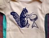 mustard drumming squirrel romper one piece baby 6-12 month infant organic bodysuit