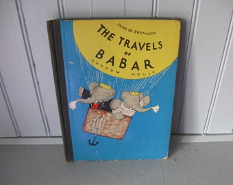 1934 The Travels of Babar Random House Illustrated Children's Book by Jean De Brunhoff