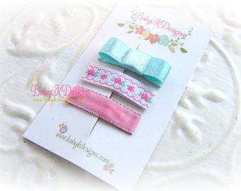 TRY ME Baby Clip / Girls Petite Baby Bow Coral Rose Aqua Mini Newborn Tuxedo Bow Snap Clip Barrettes or Alligator Clips For Toddler Girls  /