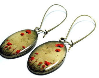 Red Poppy Flower Earrings, Handmade, Resin Earrings, Dangle Earrings, Resin Jewelry, Poppy Flower Jewelry, Red Poppies, Red Earrings