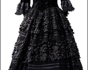 Black Countess Gown by Kambriel - Enchanting Dark Fairytale - Couture Designer Sample - Brand New & Ready to Ship