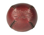 Baseball Burgundy Chromexcel LEMON BALL with black stitch, vintage style, Leather, Handmade, Sports, Play