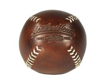 LEMON BALL lemon peel style baseball Brown with white stitches, leather, baseball, handmade, Ball, Sports, Play (LB-Cxl-Wh)
