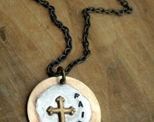 Faith Handstamped Pendant Necklace, Cross Necklace, Inspirational, Soldered, Word Necklace
