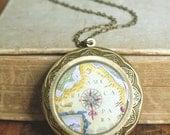 Old Map Locket Necklace, Map Locket Necklace, Long Locket Necklace, Large Locket, Long Chain, Photo gift, Vintage Style Locket