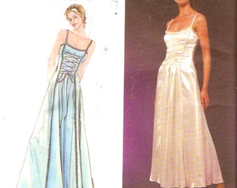 Begotten Wedding dress Slip style gown Front tie bodice Simplicity 8983 90s sewing pattern Bust 28 to 33 Small
