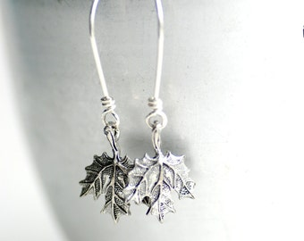 Maple Leaf Earrings, Autumn Jewelry, Autumn Wedding, Pewter Leaf, Woodland Wedding, Nature Jewelry, Silver Maple, Sterling Silver