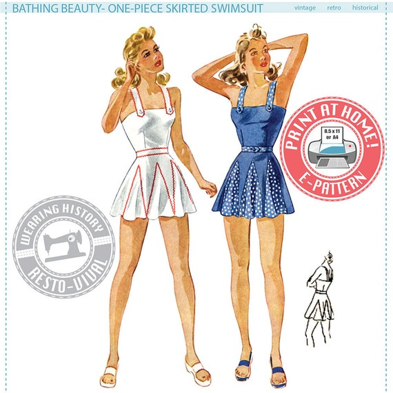 1940s Sewing Patterns – Dresses, Overalls, Lingerie etc 1940s Bathing Beauty- 1940s Swimsuit Swim Suit Bathing- PDF Sewing Pattern- Wearing History $12.00 AT vintagedancer.com