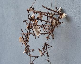 Beach Finds Installation - Fish Net, Rust, Seashells - Wall Hanging