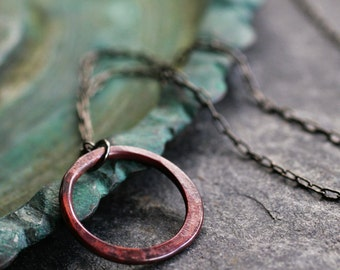 small circle necklace rustic copper necklace rosy patina minimalist modern round pendant simple organic TINY RELIC RING