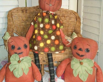 Primitive Pumpkin Pattern Bittersweet and Baby Bumpkin to sew.