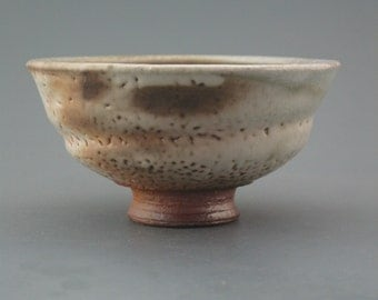 Chawan, wood-fired iron rich stoneware w/ shino and natural ash glazes