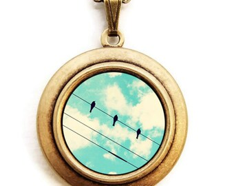 Three Little Birds - Photo Locket Necklace - Birds On A Wire Against A Turquoise Sky