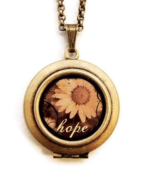 Hope - Inspirational Message Photo Locket Necklace