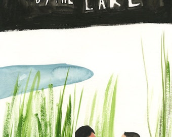 Stranger by the Lake - Original wonky movie poster painting