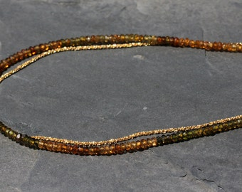 Tourmaline Bead Gold Chain Necklace