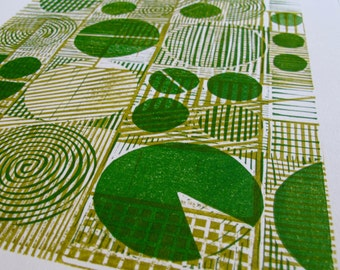 Crop Circles, original green and gold relief linocut print on paper, geometric, midwest, abstract art