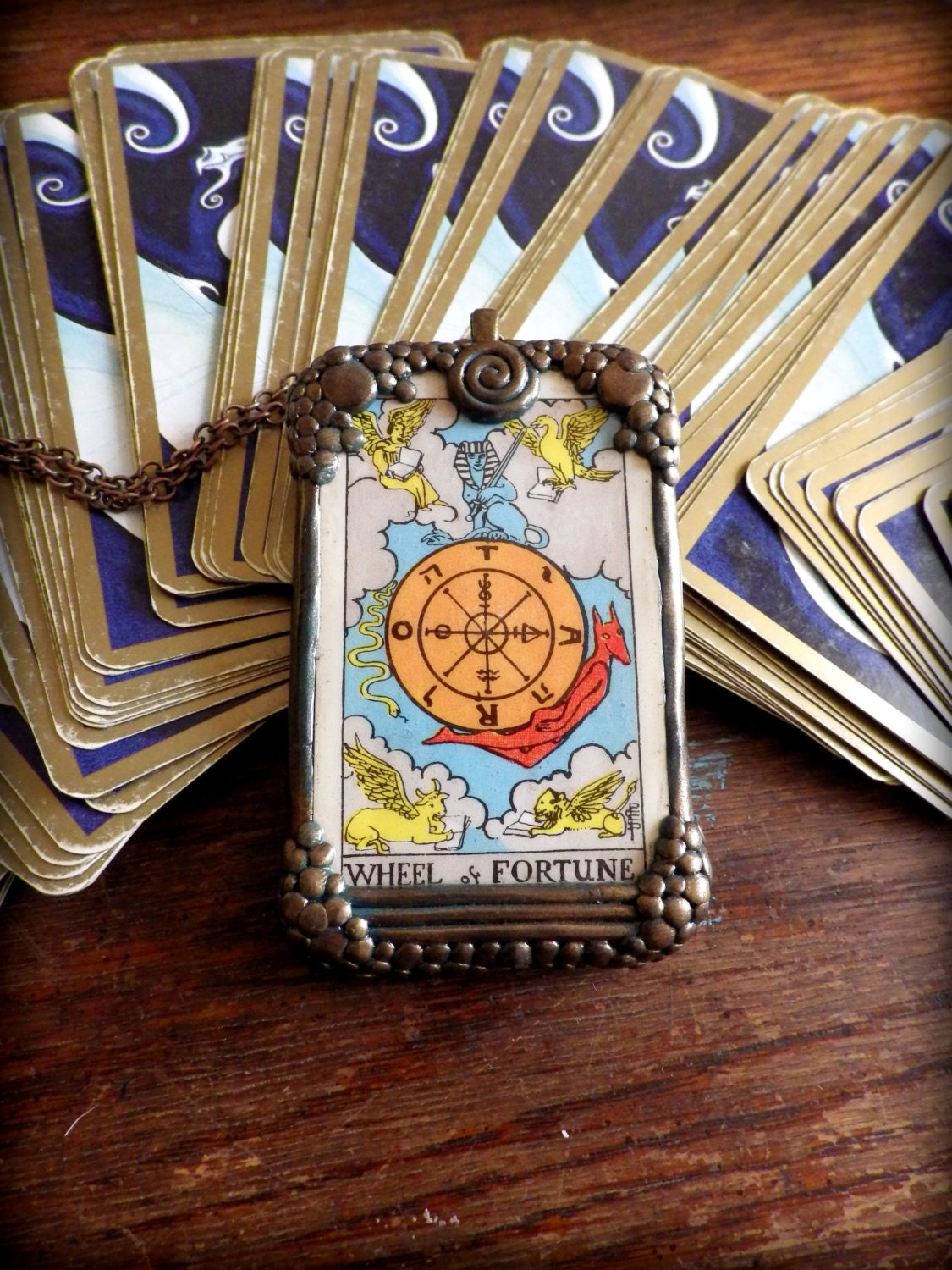 Wheel Of Fortune Tarot Card Necklace Authentic Rider Waite