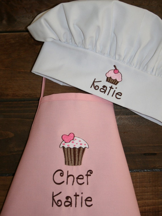 Vanilla Cupcake- Personalized Embroidered Kids Apron and Chef Hat--2 apron sizes available