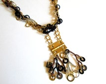 Hardware Necklace - Industrial Necklace - Washer Necklace - Upcycled Beaded Necklace - Hinge Pendant - Freeform Peyote Necklace
