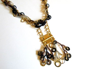 Hardware Necklace - Beaded Industrial Necklace - Washer Necklace - Upcycled Hinge Necklace - Steampunk Jewelry - Freeform Peyote Necklace