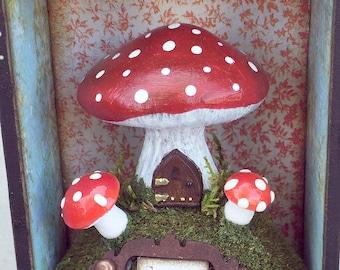 OOAK Handmade Small Fairy Mushroom House Shadowbox