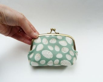 Turquoise blue, cream and beige speckled egg fabric coin purse