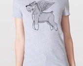 Flying Schnauzer Womens T-Shirt Small, Medium, Large, XL in 7 Colors