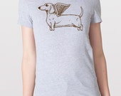 Flying Dachshund Womens T-Shirt Small, Medium, Large, X-Large in 6 Colors
