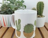 cactus mug - cactus print mug - new home gift - cactus gift - cacti pot plant - illustrated house plant printed mug - ceramic mug