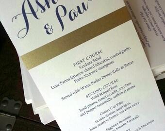 Gold Band Menu, PRINTED Menu Card, Reception Decor, Table Decor, Dinner Menu, Gold and Navy, Weddings