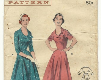 Vintage 50s Sewing Pattern Butterick 7364 Dress Rockabilly Bust 34 Sleeve Variations Full Sweep Party