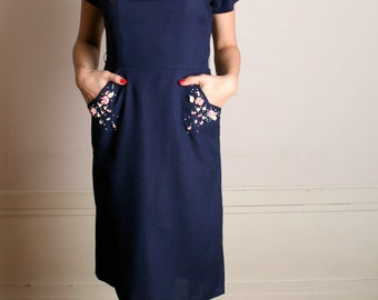 Vintage 1940s Dress - Navy Blue Floral Pink Applique Flower Sequin Dress - Medium