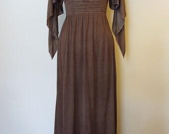 SALE Vintage Polka Dot Boho Maxi Dress - Extra Small
