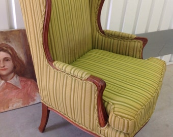 WING CHAIR Vintage French Bergere Carved Wood Frame/Legs Original Green Striped Upholstery Traditional Style  Great Condition