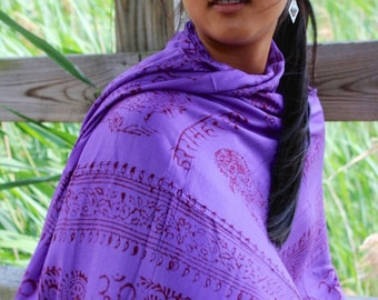 Sensational Large Purple Prayer Shawl With OM Design