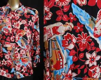 Vintage Loco Lindo Blouse, 1990s Rayon Crepe Travel Novelty Print Shirt, Made in California USA, Size M Medium