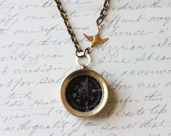 Never Lost Compass Necklace Compass With Bird Working Compass Necklace, Bohemian Chain