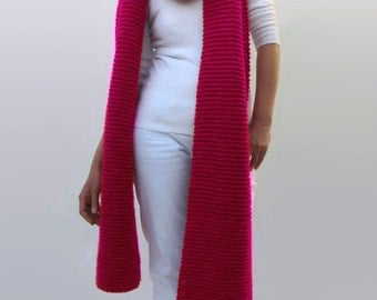 Oversize Scarf Magenta Knitted in Soft Wool Blend