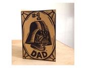 Darth Vader Greeting Card, Dad Card, Darth Vader Linocut Greeting Card, Number 1 Dad Darth Vader Star Wars Humorous Letterpress Card