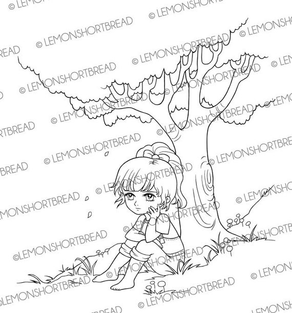 Digital stamp girl sitting under tree digi download for Country girl coloring pages