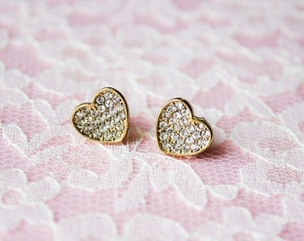 80s Vintage Rhinestone Gold Heart Stud Earrings