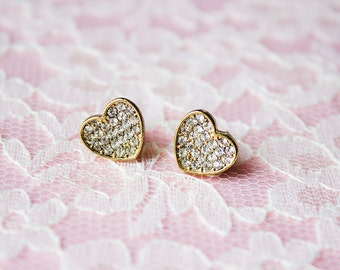 20% Off With Coupon Code! 80s Vintage Rhinestone Gold Heart Stud Earrings